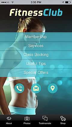 Fitness Club Woman 2 App Templates